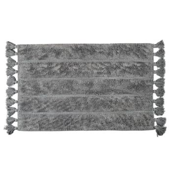 Cotton Fringe Stripe Tufted Bathmat