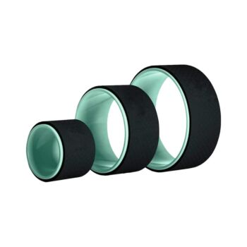 Yoga Wheel Set of 3 Green and Black for Back Pain, Stretching, Flexibility & Improving Yoga Poses