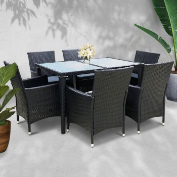 Outdoor Dining Set Patio Furniture Outdoor Setting Table Chairs Wicker Set Garden 7PCS Black Gardeon