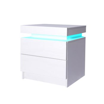 Levede Bedside Table with Drawers RGB LED Storage Cabinet High Gloss Nightstand