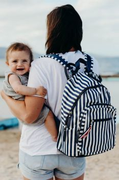 Backpack Nappy Bag - Navy/White Stripe