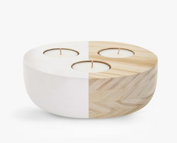 Large Wooden Bowl Maxi Tea Light Holder - Ivory