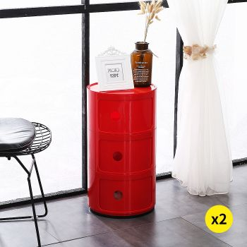 2x Levede Round Cabinet Bed Side Table Storage Organizer Cabinet 3 Drawers Red