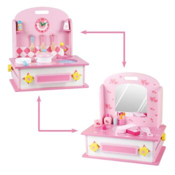 2 in 1 Pretend Role Play Makeup Dressing Table and Kitchen Play Set w/ All Accessories