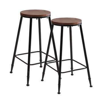 2x Levede Rustic Wood Seat Kitchen Dining Bar Stools