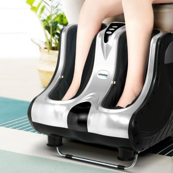 Foot Massager Shiatsu Electric Leg Massagers Electric Ankle Calf 3D Roller Kneading Rolling Exercising Muscle Relaxing Soothing Relief Home Office Silver