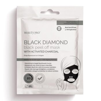 BeautyPro Black Diamond Peel Off Face Mask with Activated Charcoal (3 x 7g applications)