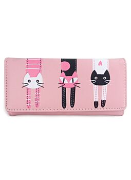Pink Large Cat Wallet Non Leather Fashionable Cat Lover With Printed Cat Design Per-Fect For A New Ladies Girls Purse Wallet