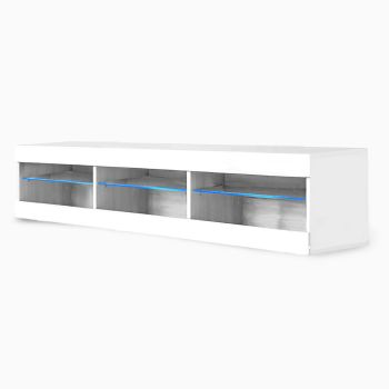 Levede TV Cabinet LED Entertainment Unit Storage Stand Cabinets Modern White