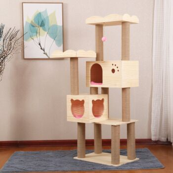 Large Wooden Cat Tree Cat Scratching Post Cat Condo Furniture with Natural Sisal Rope
