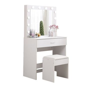Levede Dressing Table tool Set LED Makeup Mirror Jewellery organizer Cabinet With 12 Bulbs