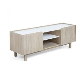 Soledas Acacia Wood Entertainment TV Unit 160cm - Natural/White