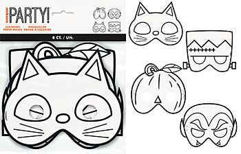 Colour Your Own Halloween Paper Masks 8 Pack