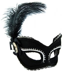 Masquerade Mask - Black & Silver w/Feat