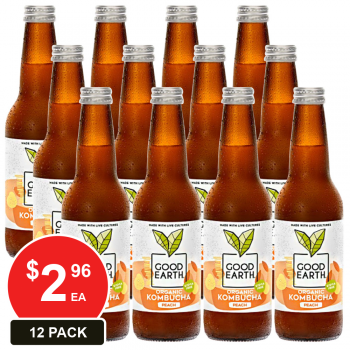 12 Pack, Good Earth 330ml Kombucha Peach