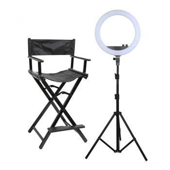 Glammar Professional Beauty Ring Light & Makeup Chair Set