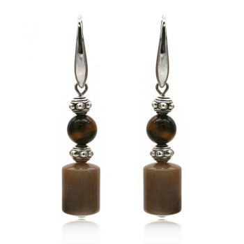 Natural Round Tiger Eye & Agate Ethnic Inspired Drop Earrings