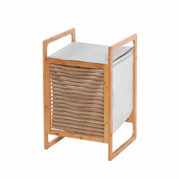 Sherwood Home Foldable Bamboo Laundry Basket Hamper with Lid and Handle - Natural - 40x36x61cm