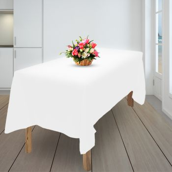 4x Tablecloth Wedding Tablecloth Rectangle Square Event Fitted Table Cloth White