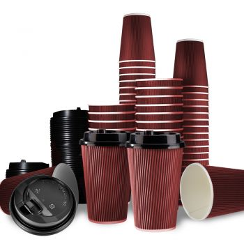 Disposable Takeaway Coffee Cups With Lids Red 1000pcs 12oz