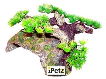 ULTIMATE REPTILE SUPPLIERS MOSS BOULDER HIDE WITH SIDE BONSAI