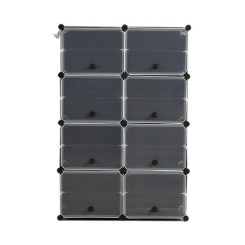 8 Tier Cute Cabinet Stackable Organiser for Shoes in Black