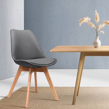 Artiss Dining Chairs DSW Retro Replica Eames Eiffel Kitchen Chair Cafe Grey