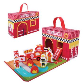 Foldable Fire Station Play Set