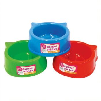 Cat Bowl Round with Ears 13x5cm - 3  x Assorted Colours Blue/Red/Green PP plastic with 4 x Rubber Stoppers