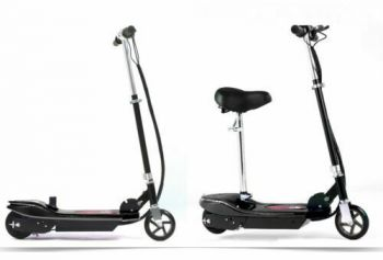 Monvelo Folding Electric Scooter LED Portable Commuter Adults Kids e-Bike Black