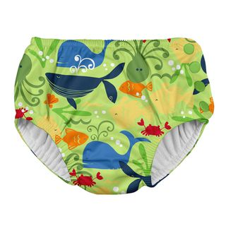 Snap Reusable Absorbent Swimsuit Diaper-Green Sealife