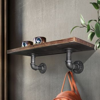 Artiss Rustic DIY Pipe Shelf Vintage Wall Brackets Industrial Display Shelves
