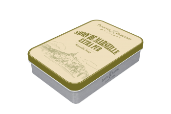 "100g/3.5 oz Olive soap in a ""Marseille"" metallic box"