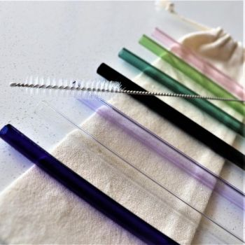 Glass Drinking Straw Set with Metal Straw Cleaner - mixed colours