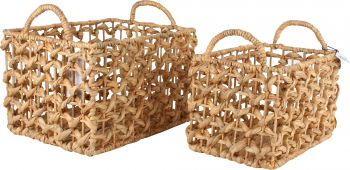 *** HAFF S/2 WATER HYACINTH BASKETS 40X30X25CM LGE