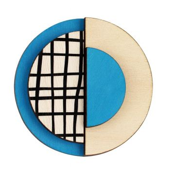 Circle wooden statement brooch with lines in blue