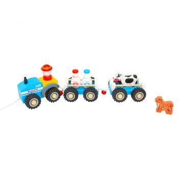 Blue Tractor with Double Trail