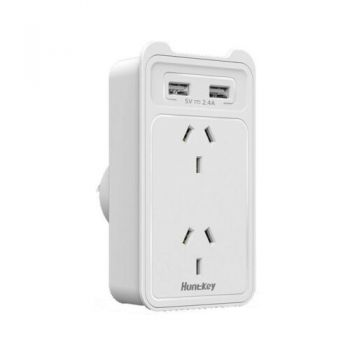 Huntkey 2 Outlet Powerboard With Dual USB Charging Ports