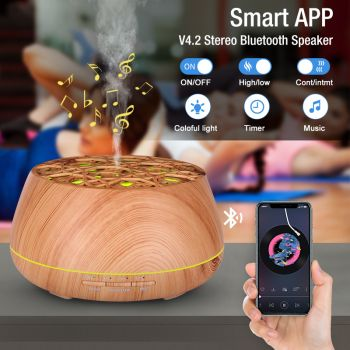 400Ml Bluetooth Humidifier Aromatherapy Diffuser Ultrasonic Led Speaker Dome - Woodgrain