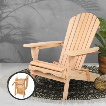 Outdoor Chair Beach Chairs Wooden Adirondack Lounge Furniture Foldable Patio Garden Gardeon
