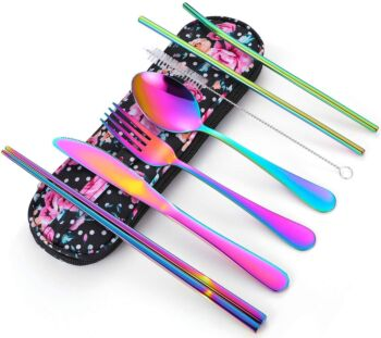 BOOC FLATWARE Travel Utensils Reusable Silverware Portable Cutlery Set with a Waterproof Carrying Case for Lunch Boxes Workplace Camping Picnic Rainbow