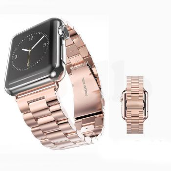 Replacement Stainless Steel Strap Band Clasp for Apple Watch Sport Rose gold