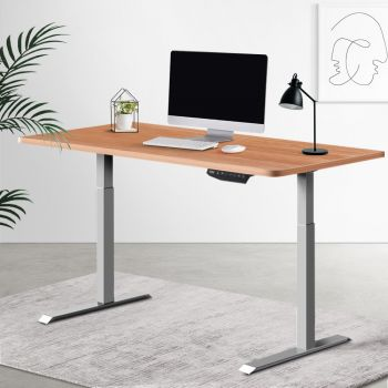 Artiss Standing Desk Sit Stand Table Riser Wooden Computer Laptop Desks Motorised Dual Motors 140cm