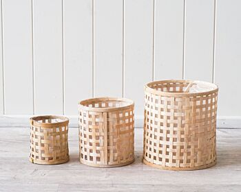 Basket Set - Rattan Woven - White Washed Lined - Set of 3 - 22/17/12