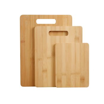 Gourmet Kitchen 3 Piece Natural Bamboo Cutting Board Set - Wood Brown