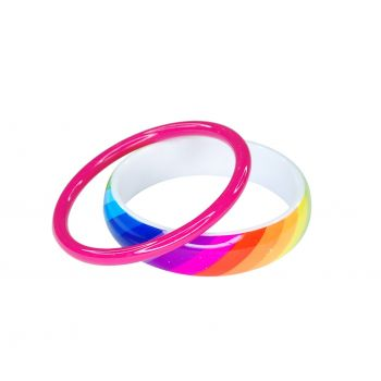 Solid colour bangle set (thick & thin)
