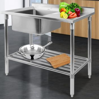 Cefito 1000x600mm Stainless Steel Sink Bench Kitchen Work Benches Single Bowl 304 Food Grade Stainless Steel