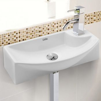 Cefito Bathroom Basin Vanity Ceramic Sink Faucet Above Counter Wall Hung White
