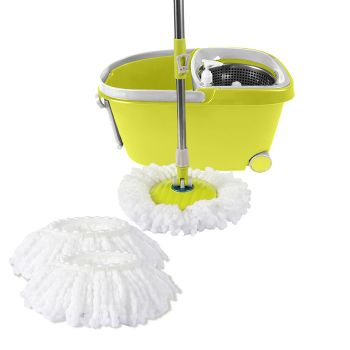 360∞ Spin Mop Bucket Set Spinning Stainless Steel Rotating in Green