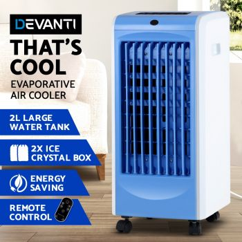 Devanti 2L Evaporative Air Cooler w/Reomote ControlPortable Fan Water Cool Mist Conditioner Humidifier Blue